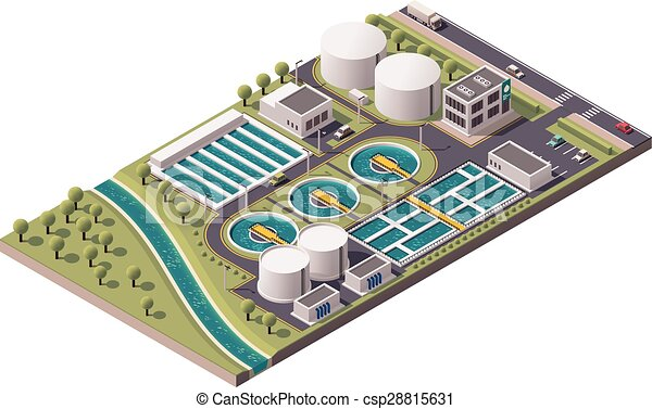 Vector Isometric Water Treatment Plant Isometric Icon Set Representing Water Treatment