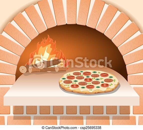 Vector Italian pizza with tomato - csp25695338