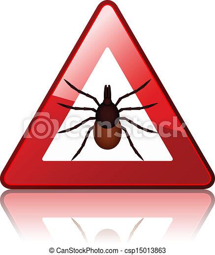 vector Ixodes ricinus tick road warning sign - csp15013863