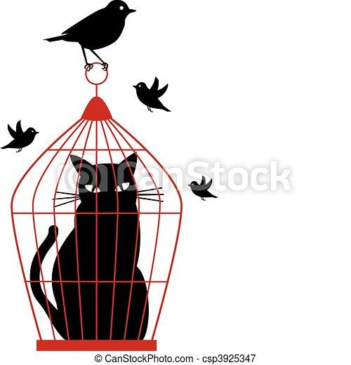 Gato en jaula de pájaros, vector - csp3925347
