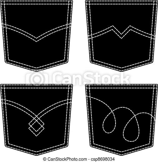vector jeans pocket black symbols - csp8698034
