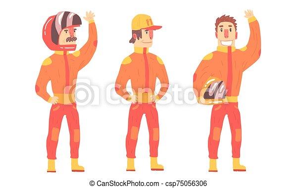 vector, jinete, hombres, naranja, suits., illustration. - csp75056306