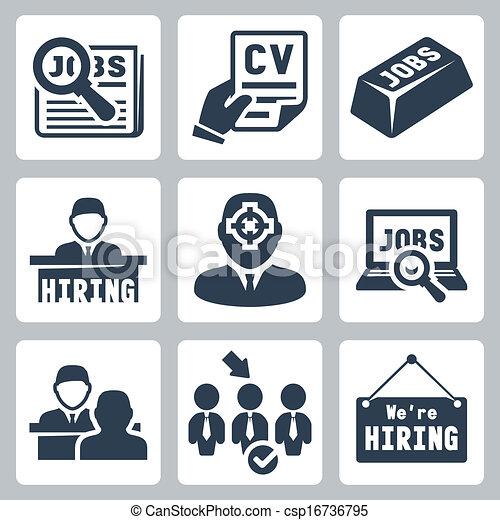 Vector job hunting, job search, human resources icons set - csp16736795