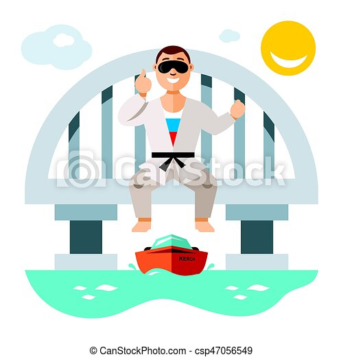 Vector Jumper from the bridge. Flat style colorful Cartoon illustration. - csp47056549
