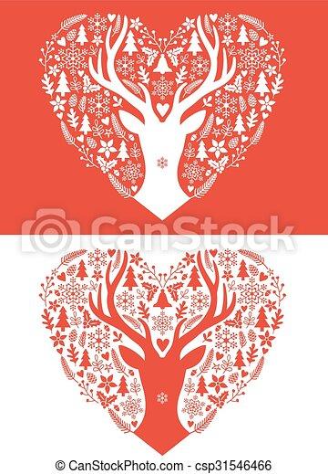 vector, kerstmis kaart, hart - csp31546466