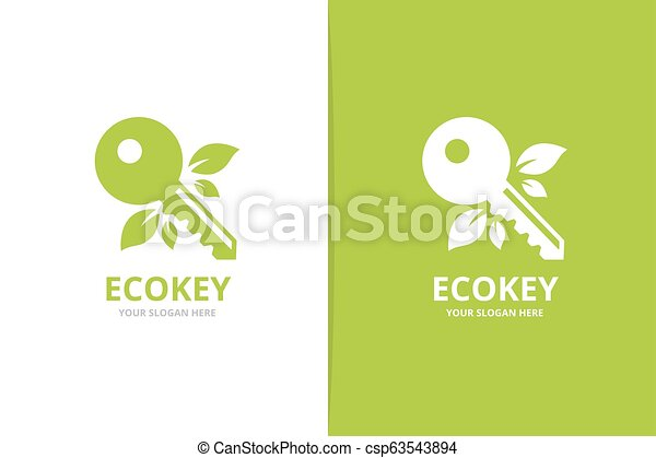 Vector key and leaf logo combination. Lock and eco symbol or icon. Unique house and organic logotype design template. - csp63543894