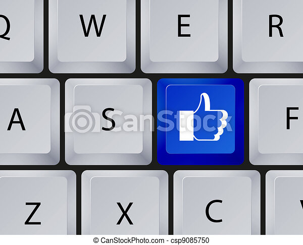 Vector keyboard with thumbs up button. Eps10 - csp9085750