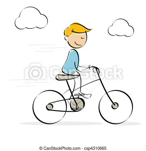 vector kid enjoying bicycle ride - csp4310665