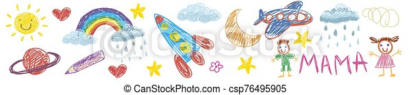 Vector kids drawing with spaceship, planet, alien, moon, star, cloud, sun, rocket, jupiter. Cartoon boy and girl. - csp76495905