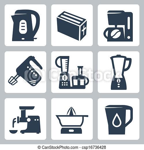 Vector kitchen appliances icons set - csp16736428