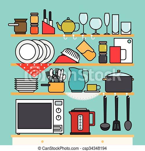 Vector kitchen utensils - csp34348194