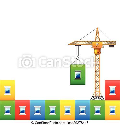 vector, kleurrijke, muur, huizenbouw, kraan - csp39278446