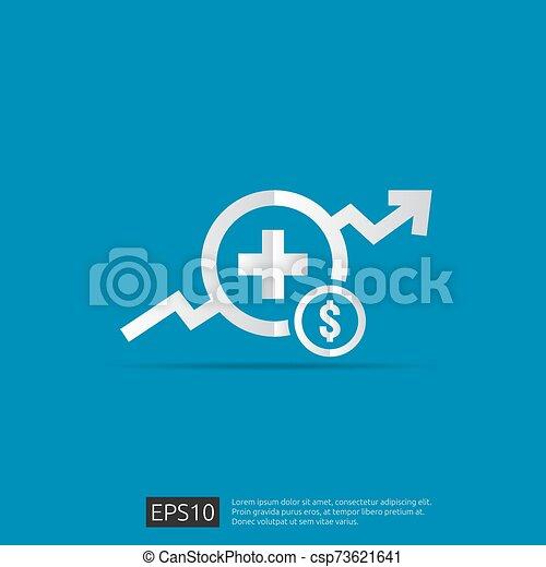 vector, kosten, illustration., uitgeven, of, gezondheidszorg, gezondheid, plat, geneeskunde, concept., expenses., ontwerp, duur - csp73621641