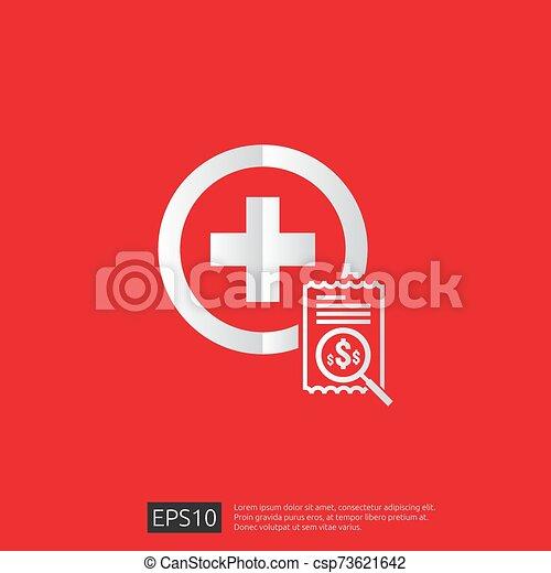 vector, kosten, illustration., uitgeven, of, gezondheidszorg, gezondheid, plat, geneeskunde, concept., expenses., ontwerp, duur - csp73621642
