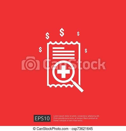 vector, kosten, illustration., uitgeven, of, gezondheidszorg, gezondheid, plat, geneeskunde, concept., expenses., ontwerp, duur - csp73621645