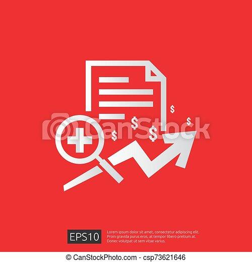 vector, kosten, illustration., uitgeven, of, gezondheidszorg, gezondheid, plat, geneeskunde, concept., expenses., ontwerp, duur - csp73621646