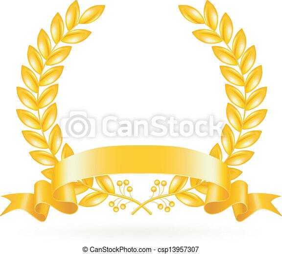 vector, krans, goud - csp13957307