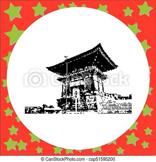 Black 8 bits 2 Storey Pagoda en el Templo Budista Kiyomizu Dera el punto de referencia de Kyoto, vector de Japón ilustración aislada en blanco alrededor - csp51595200