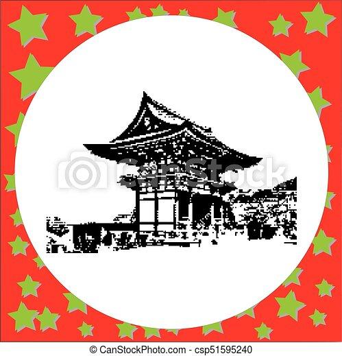 Black 8 bits 2 Storey Pagoda en el Templo Budista Kiyomizu Dera el punto de referencia de Kyoto, vector de Japón ilustración aislada en blanco alrededor - csp51595240