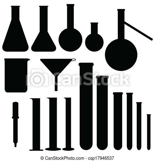 vector, laboratorio, siluetas, conjunto - csp17946537