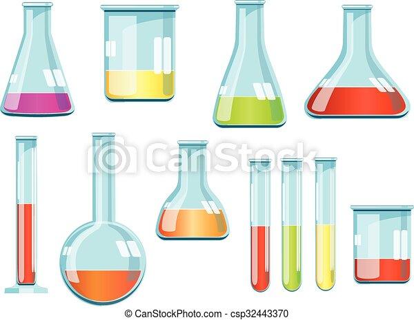 Vector laboratory glassware with liquids of different colors - csp32443370