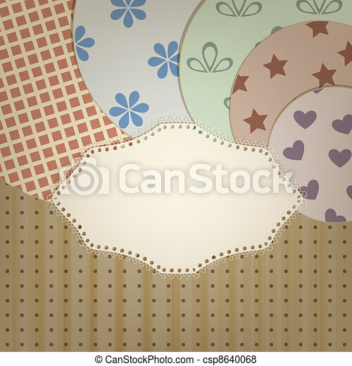 vector lacy napkin abd circle retro  patterns on seamless background with stripes and dots, clipping mask, patterns can  be used separately - csp8640068