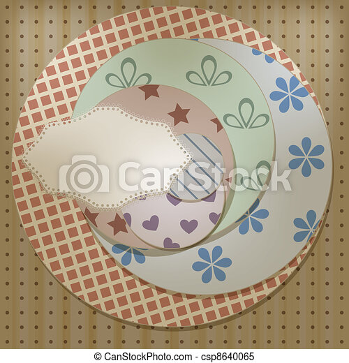 vector lacy napkin on retro circle patterns, can be used separately - csp8640065