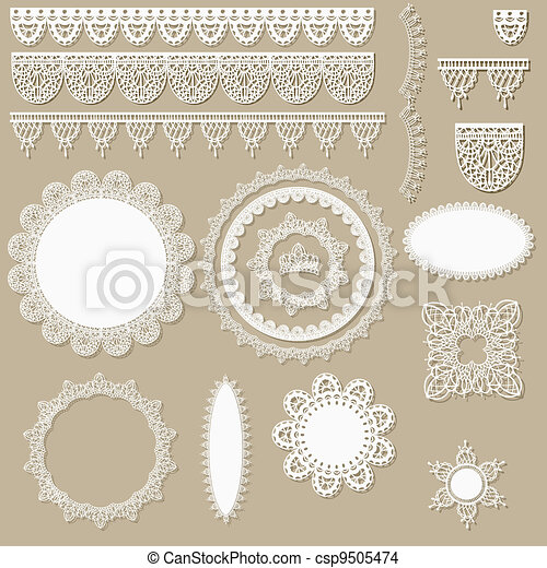 vector lacy scrapbook design elements - csp9505474