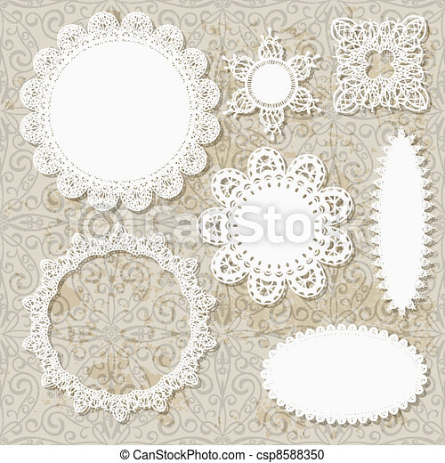 vector lacy scrapbook napkin design patterns on seamless grungy background - csp8588350