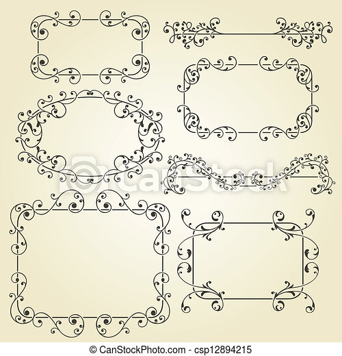 vector lacy  vintage floral  design elements  - csp12894215