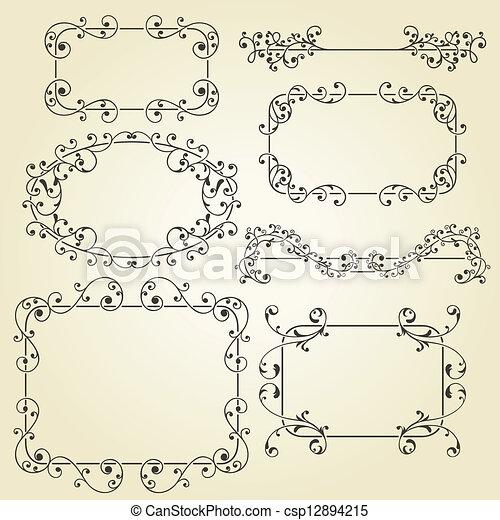 vector lacy  vintage floral  design elements  - csp12894215