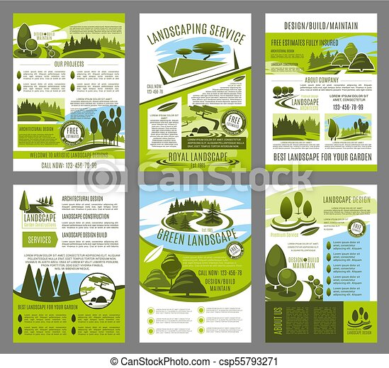 vector landscape garden design brochure template landscape design
