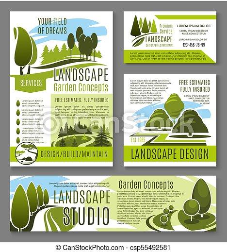 Vector Landscape Garden Design Concept Posters Landscape Design
