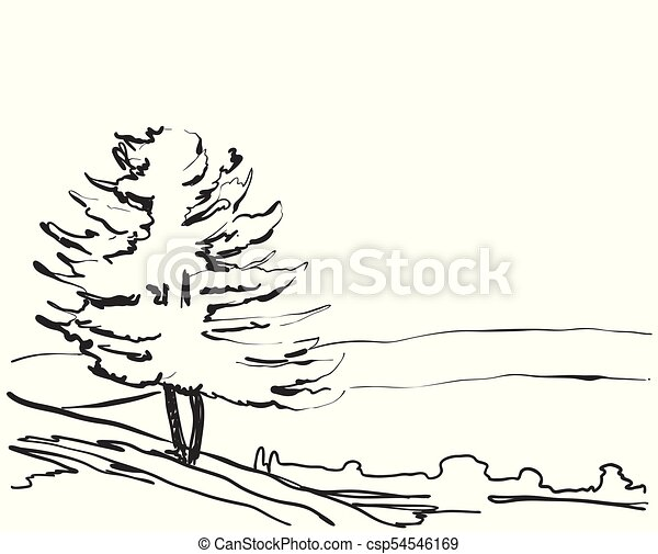 Vector Landscape Sketch A Park Bench Tree