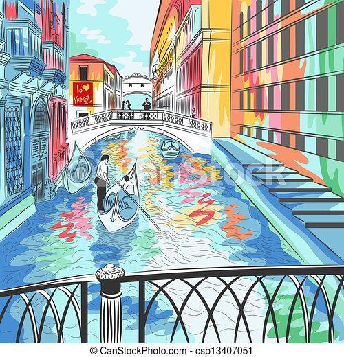 vector landscape the Bridge of Sighs in Venice - csp13407051