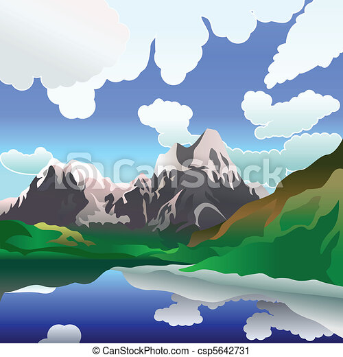 Vector landscape with mountain lake - csp5642731
