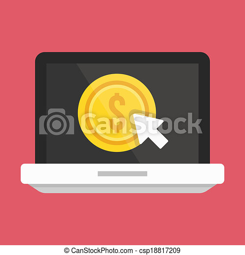 Vector Laptop Pay per Click Icon - csp18817209