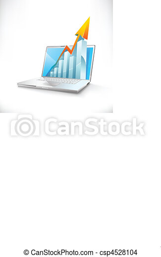 vector laptop with growth bar graph - csp4528104