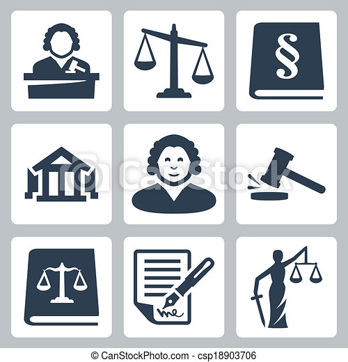 Vector law and justice icons set - csp18903706