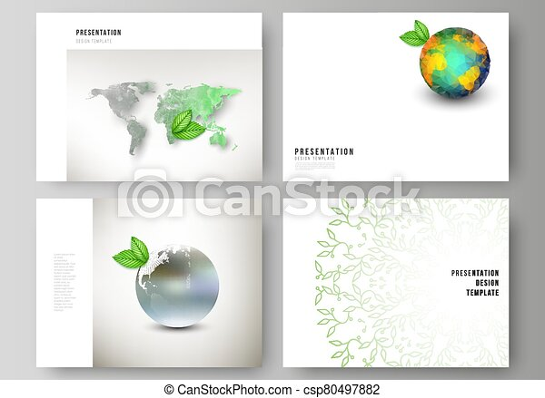 Vector layout of the presentation slides design business templates, multipurpose template for presentation brochure, brochure cover. Save Earth planet concept. Sustainable development global concept. - csp80497882