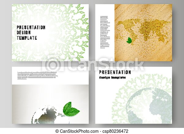 Vector layout of the presentation slides design business templates, multipurpose template for presentation brochure, brochure cover. Save Earth planet concept. Sustainable development global concept. - csp80236472