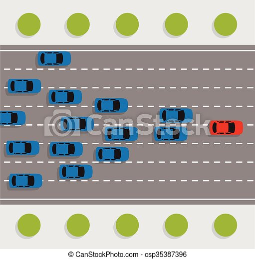 vector leadership concept with car road rally  - csp35387396