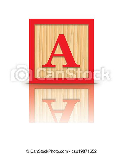 vector letter a wooden block letter a wooden alphabet block rh canstockphoto com black clip art monkeys pictures block clip autocad