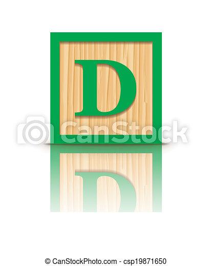 vector letter d wooden block letter d wooden alphabet block rh canstockphoto com