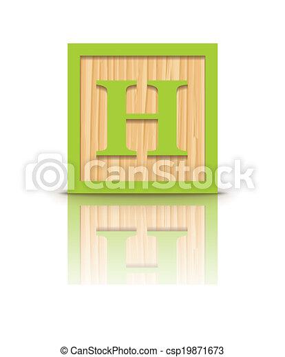 Vector letter H wooden block - csp19871673