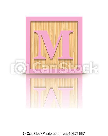 Vector letter m wooden block Letter m wooden alphabet block