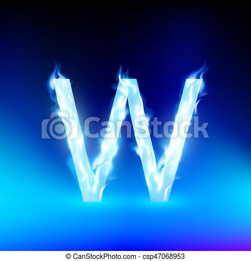 vector letter with blue fire - csp47068953