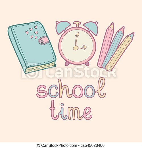 Vector Lettering Text School Time Cute Children Education