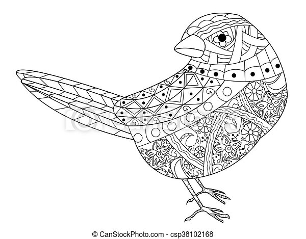 Vector, libro, colorido, adultos, gorrión. Bird., estilo, colorido ...