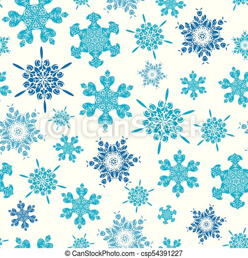 Vector Light Blue Hand Drawn Christmass Snowflakes Repeat Seamless Pattern Background Can Be Used For Fabric Wallpaper Stationery Packaging
